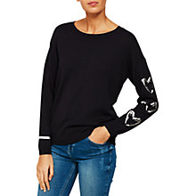 Buy Mint Velvet Foil Heart Jumper, Navy Online at johnlewis.com