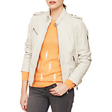 Buy Mint Velvet Leather Collarless Biker Jacket, Oyster Online at johnlewis.com