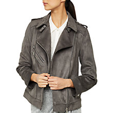 Buy Mint Velvet Bonded Faux Suede Biker Jacket, Smoke Online at johnlewis.com