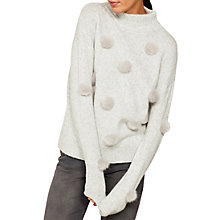 Buy Mint Velvet Statement Pom Pom Knit Jumper, Grey Online at johnlewis.com