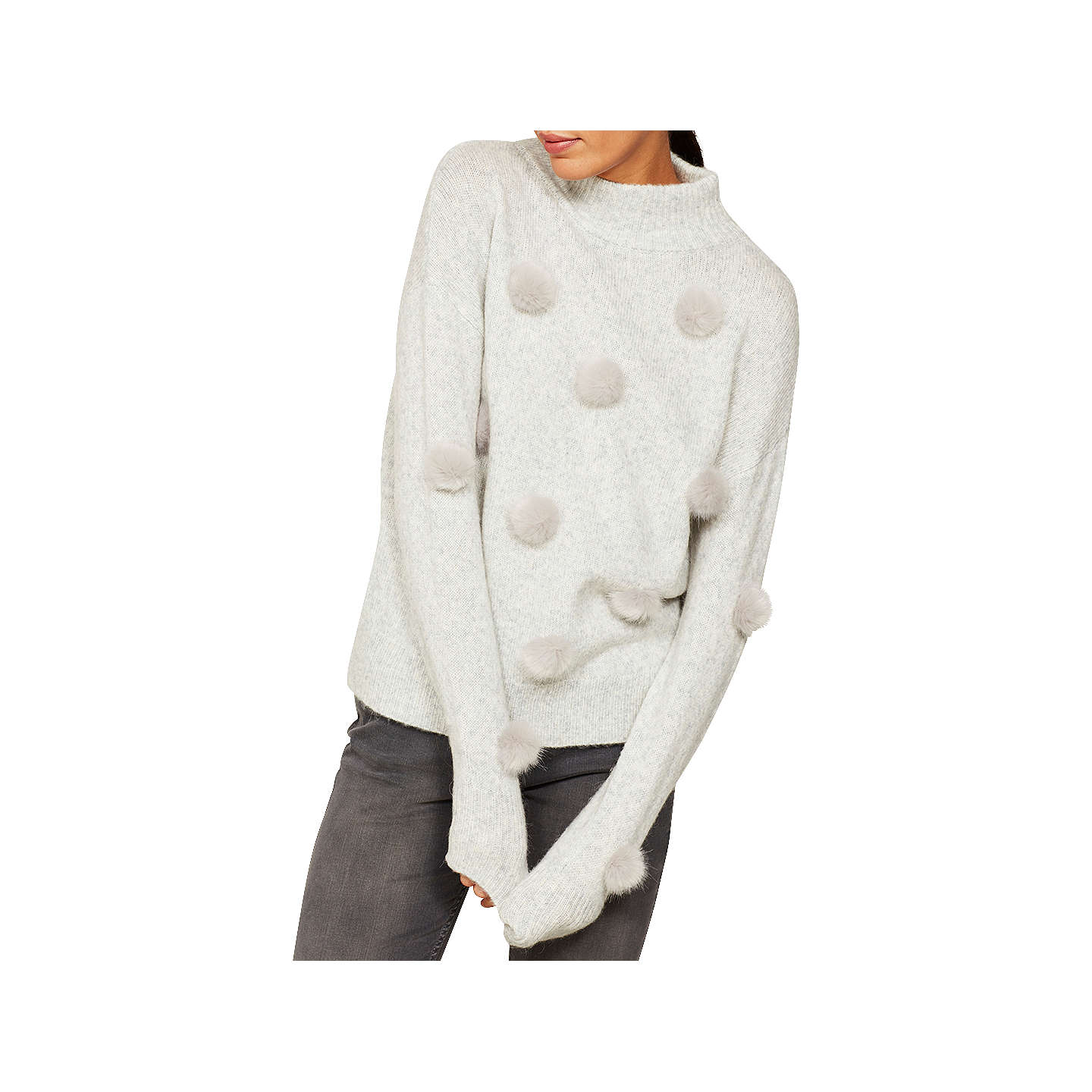 BuyMint Velvet Statement Pom Pom Knit Jumper, Grey, 6 Online at johnlewis.com