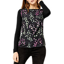 Buy Warehouse Daisy Woven Jumper, Black Online at johnlewis.com
