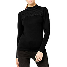 Buy Warehouse Mesh Lace High Neck Jumper, Black Online at johnlewis.com