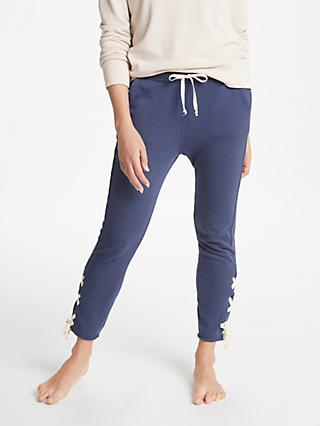 Ana Heart Levin Lace Up Yoga Sweatpants, Dark Blue