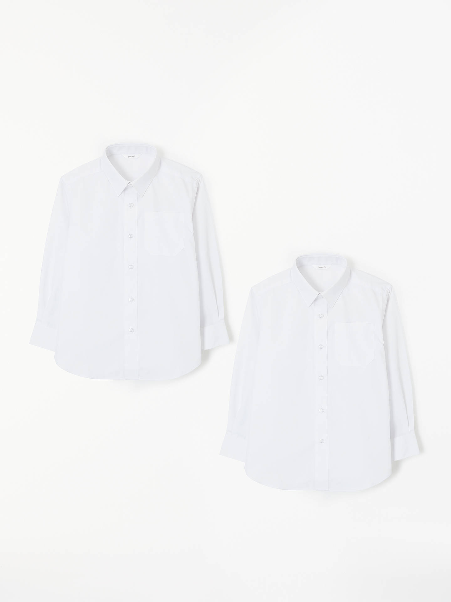 BuyJohn Lewis & Partners Easy Care Long Sleeve School Shirt, Pack of 2, White, 3 years Online at johnlewis.com