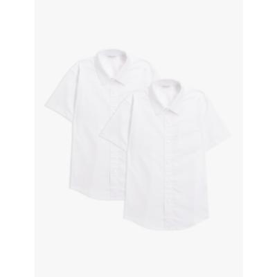 Image of John Lewis & Partners Organic Cotton Short Sleeve School Shirt, Pack of 2, White