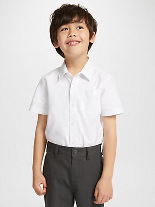John Lewis & Partners Organic Cotton Short Sleeve School Shirt, Pack of 2, White