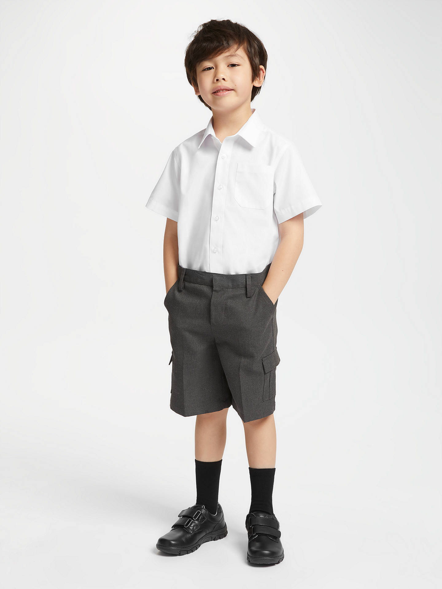 Buy John Lewis & Partners Easy Care Short Sleeve School Shirt, Pack of 2, White, 16 years Online at johnlewis.com