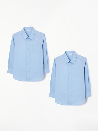 John Lewis & Partners Easy Care Long Sleeve School Shirt, Pack of 2, Blue
