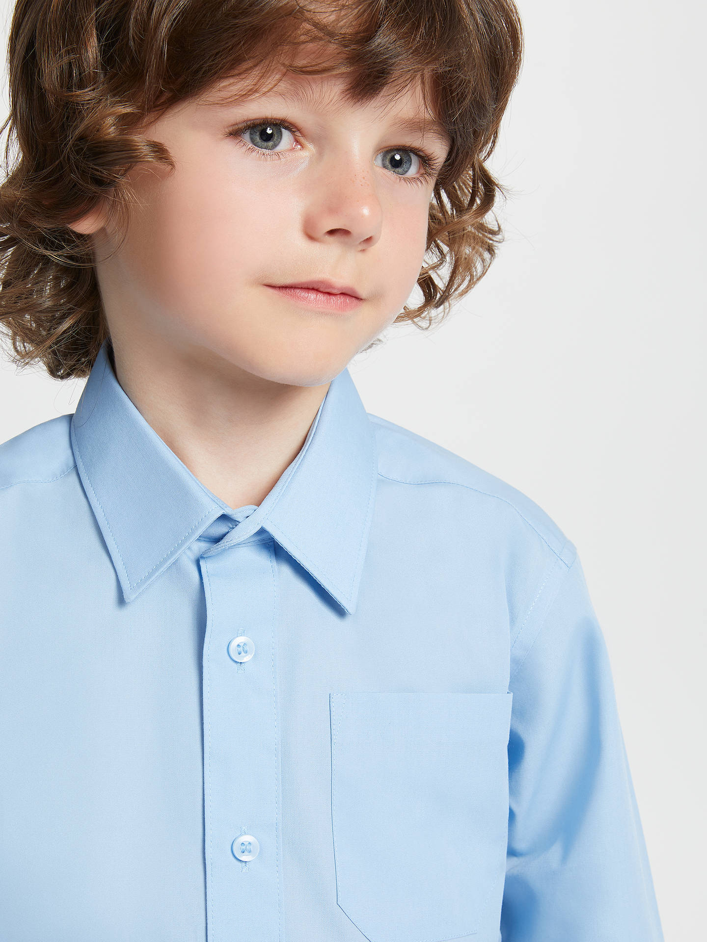 BuyJohn Lewis & Partners Easy Care Long Sleeve School Shirt, Pack of 2, Blue, 3 years Online at johnlewis.com
