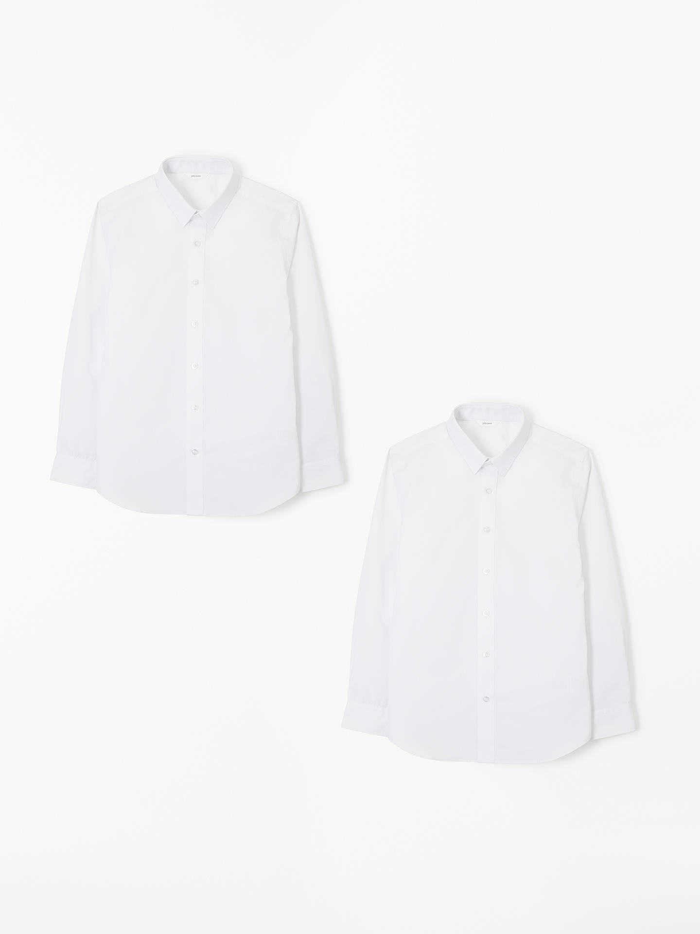 BuyJohn Lewis & Partners Easy Care Slim Fit Long Sleeve School Shirt, Pack of 2, White, 8 years Online at johnlewis.com