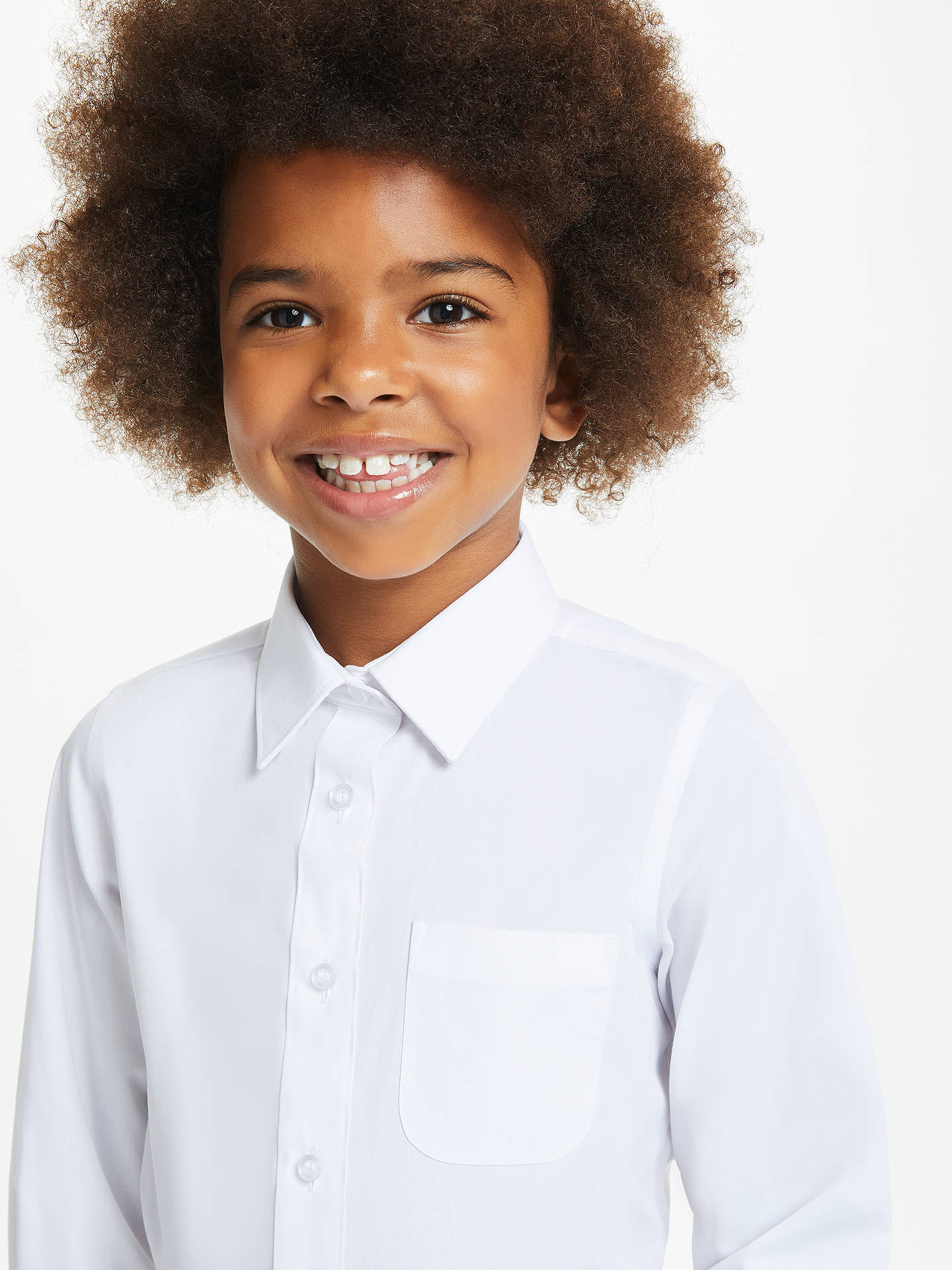 Buy John Lewis & Partners Girls' Easy Care Button Neck Long Sleeve School Shirt, Pack of 2, White, 3 years Online at johnlewis.com