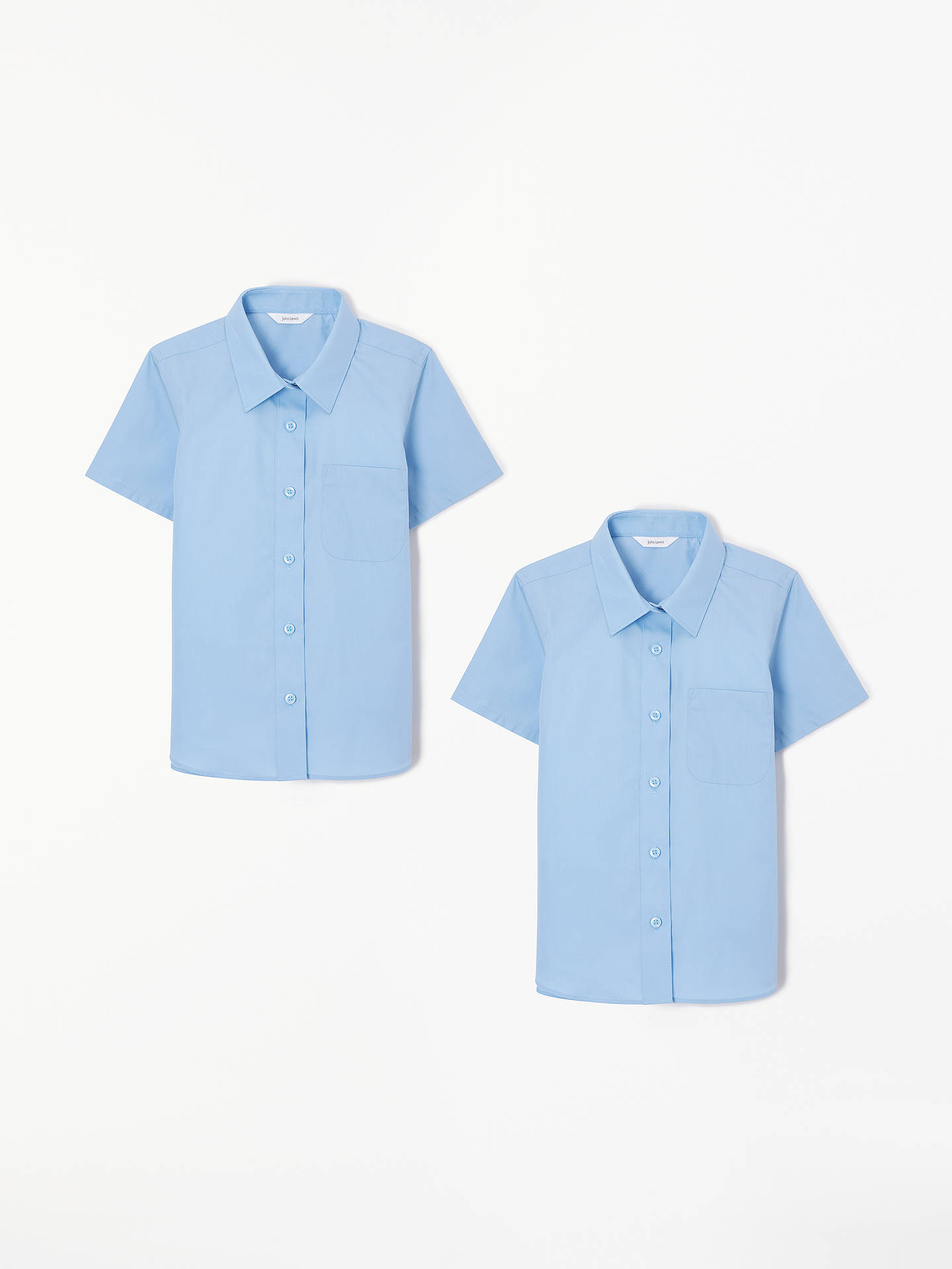 BuyJohn Lewis & Partners Girls' Easy Care Button Neck Short Sleeve School Shirt, Pack of 2, Blue, 4 years Online at johnlewis.com