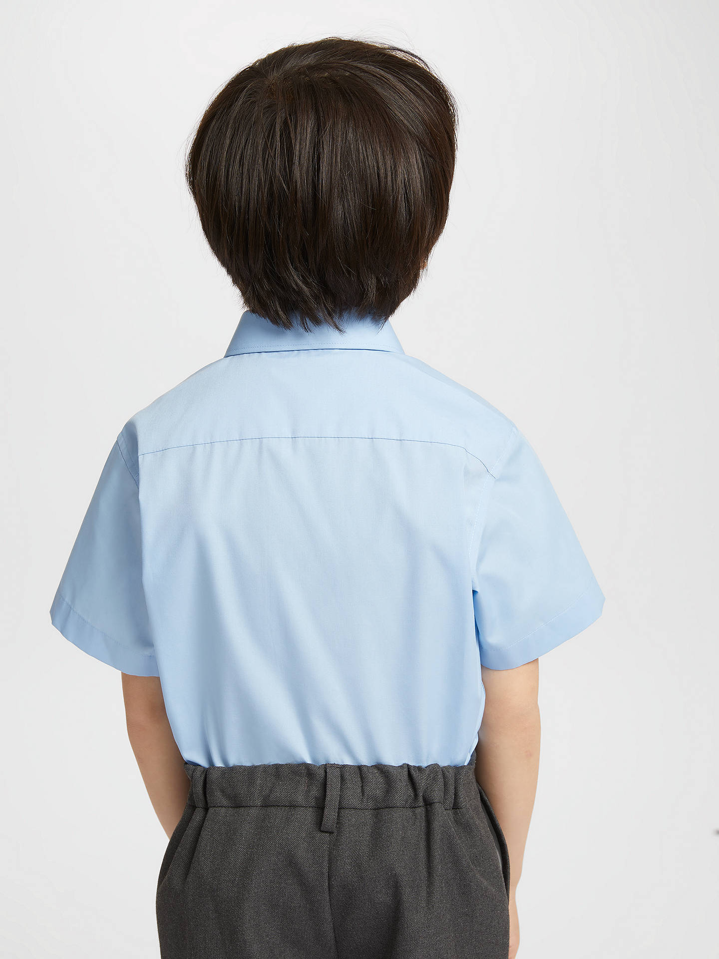 Buy John Lewis & Partners Easy Care Short Sleeve School Shirt, Pack of 2, Blue, 5 years Online at johnlewis.com