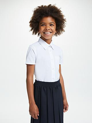 John Lewis & Partners Girls' Easy Care Button Neck Short Sleeve School Shirt, Pack of 2