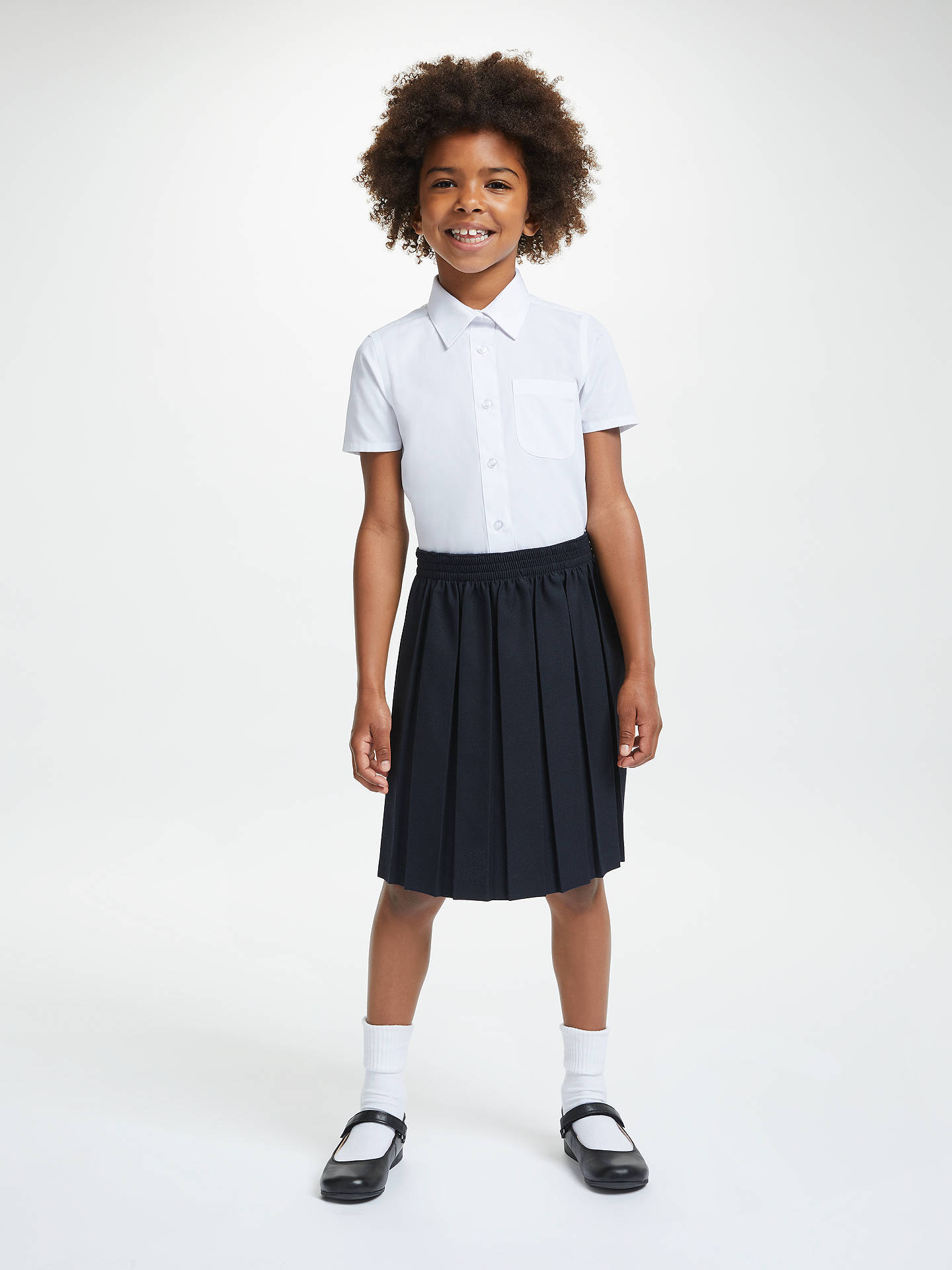 Buy John Lewis & Partners Girls' Easy Care Button Neck Short Sleeve School Shirt, Pack of 2, White, 5 years Online at johnlewis.com