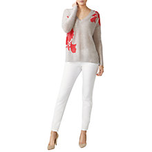Buy Pure Collection Gassato Cashmere Relaxed Floral Jumper, Coral Floral Online at johnlewis.com