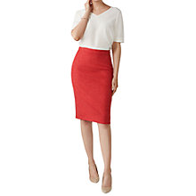 Buy Pure Collection Textured Wool Pencil Skirt, Coral Online at johnlewis.com