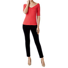 Buy Pure Collection Jersey V Neck Bardot Top, Coral Online at johnlewis.com