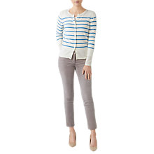 Buy Pure Collection Cashmere Stripe Cardigan, White/Blue Online at johnlewis.com