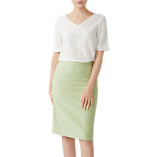 Buy Pure Collection Herringbone Wool Pencil Skirt, Mint Online at johnlewis.com