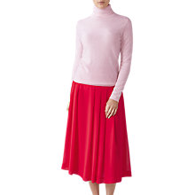Buy Pure Collection Soft Pleat Skirt, Raspberry Online at johnlewis.com