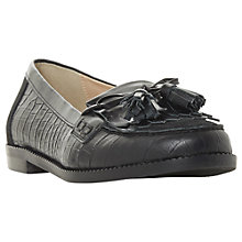 Buy Dune Georgy Tassel Loafers, Black Leather Online at johnlewis.com