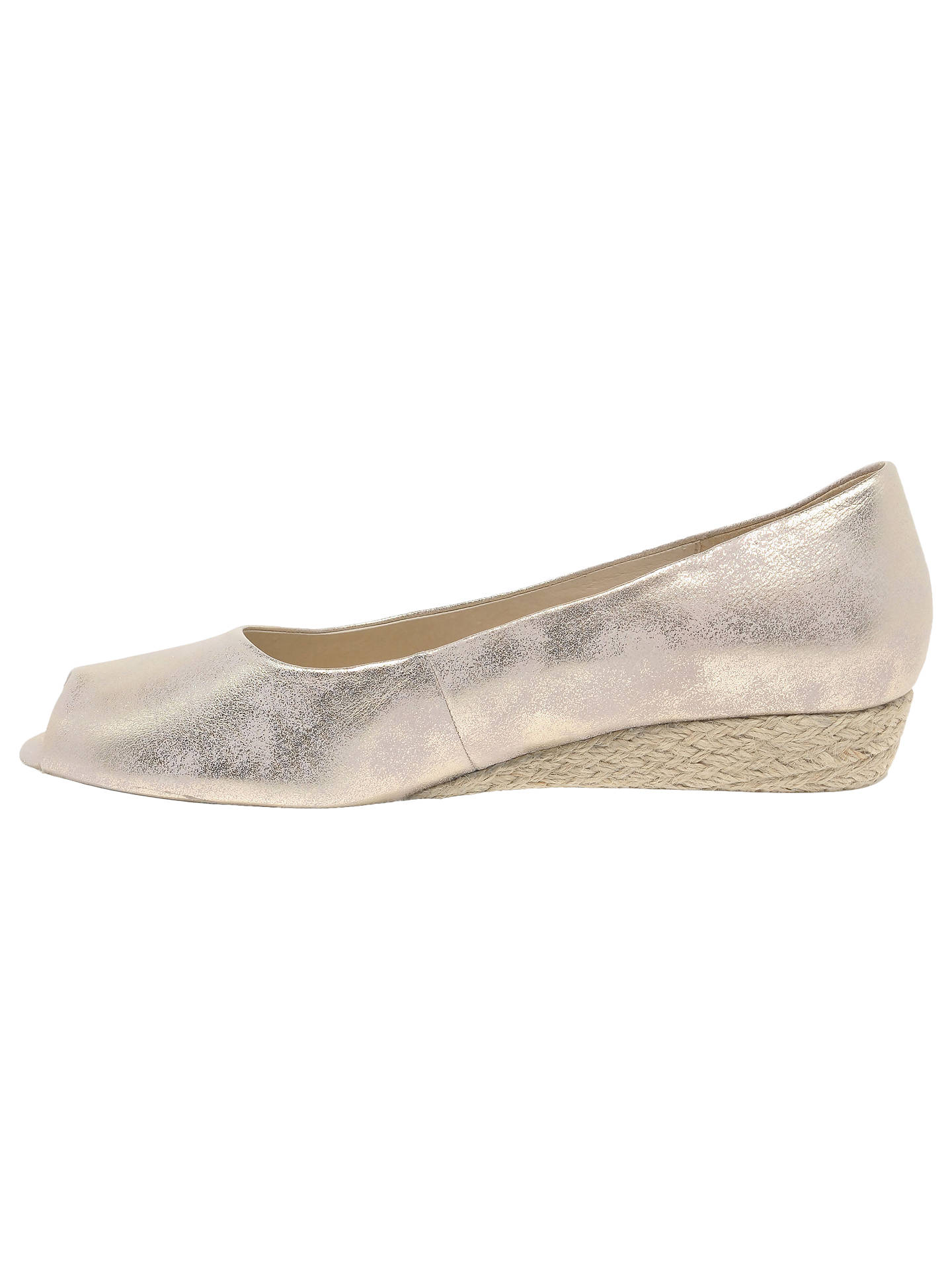 BuyGabor Roseford Wide Fit Wedge Heel Espadrille Sandals, Metallic, 4 Online at johnlewis.com