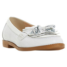 Buy Dune Georgy Leather Loafer, White Online at johnlewis.com