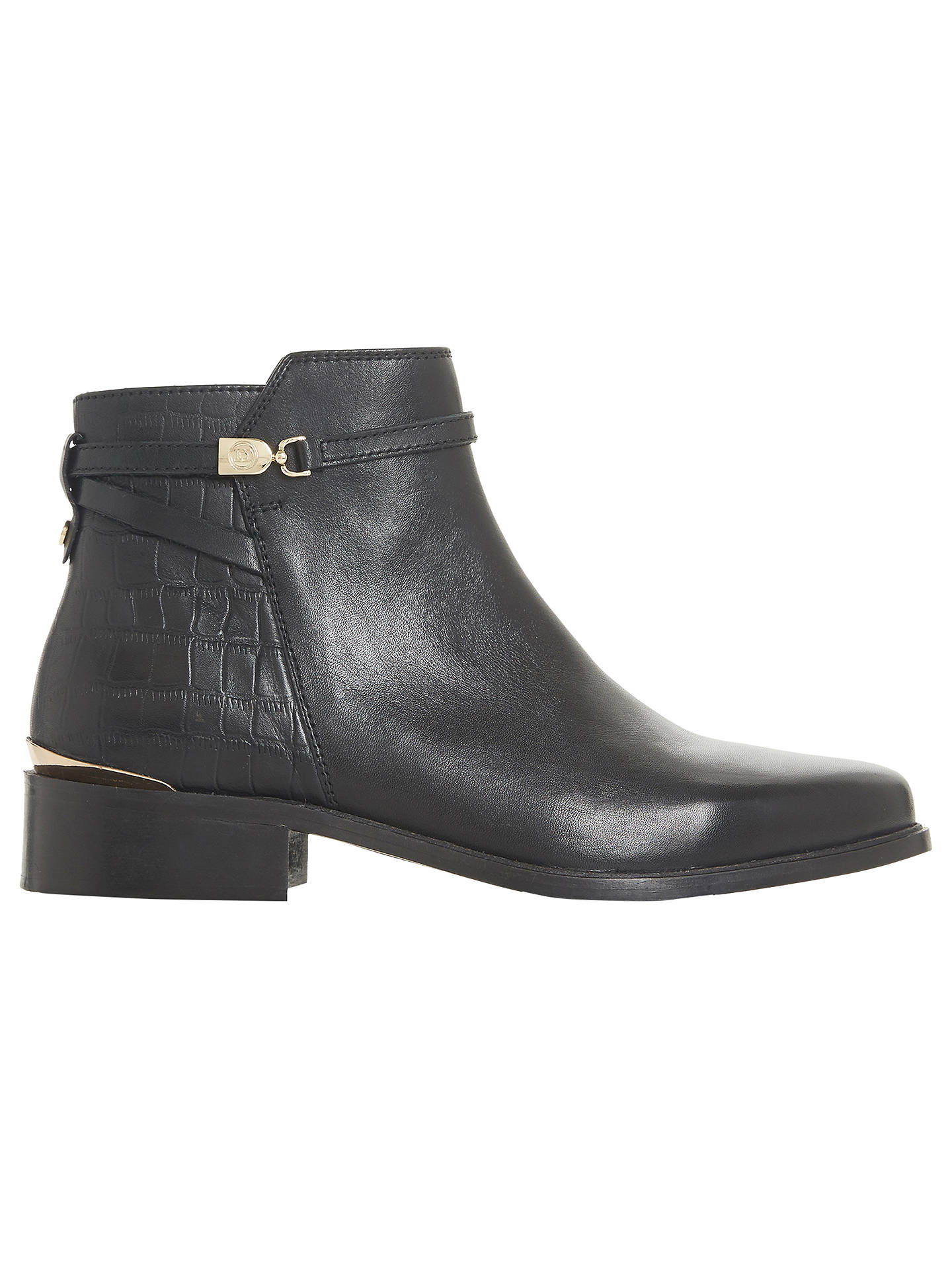 f4005c76be1 Dune Peppy Block Heel Ankle Chelsea Boots, Black Leather at John ...