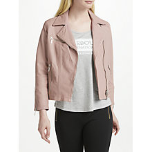 Buy Barbour International Triple Leather Jacket, Pale Pink Online at johnlewis.com