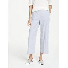 Buy Weekend MaxMara Fanfara Seersuck Cotton Stripe Trousers, Ultra Marine Online at johnlewis.com
