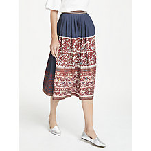 Buy Weekend MaxMara Cotton Leaf Bird Print Skirt, Ultra Marine Online at johnlewis.com