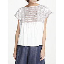Buy Weekend MaxMara Embroidered Cotton Jersey Top, White Online at johnlewis.com