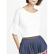 Buy Weekend MaxMara Detail Sleeve Jersey Top, White Online at johnlewis.com