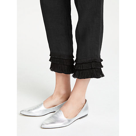 Buy Weekend MaxMara Linen Fringe Cuff Trousers, Black Online at johnlewis.com