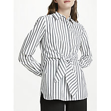 Buy Max Studio Stripe Tie Front Shirt, Black/White Online at johnlewis.com