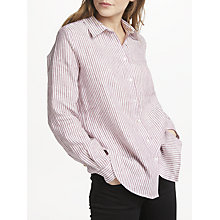 Buy Weekend MaxMara Linen Stripe Shirt, Purple Online at johnlewis.com