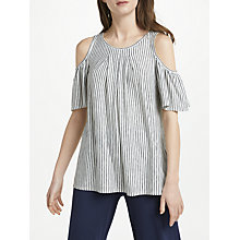 Buy Max Studio Cold Shoulder Stripe Jersey Top, Black/White Online at johnlewis.com