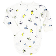 Buy Polarn O. Pyret Baby Bee Print Bodysuit, White Online at johnlewis.com