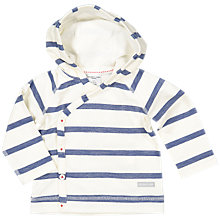 Buy Polarn O. Pyret Baby Stripe Hooded Cardigan, White Online at johnlewis.com