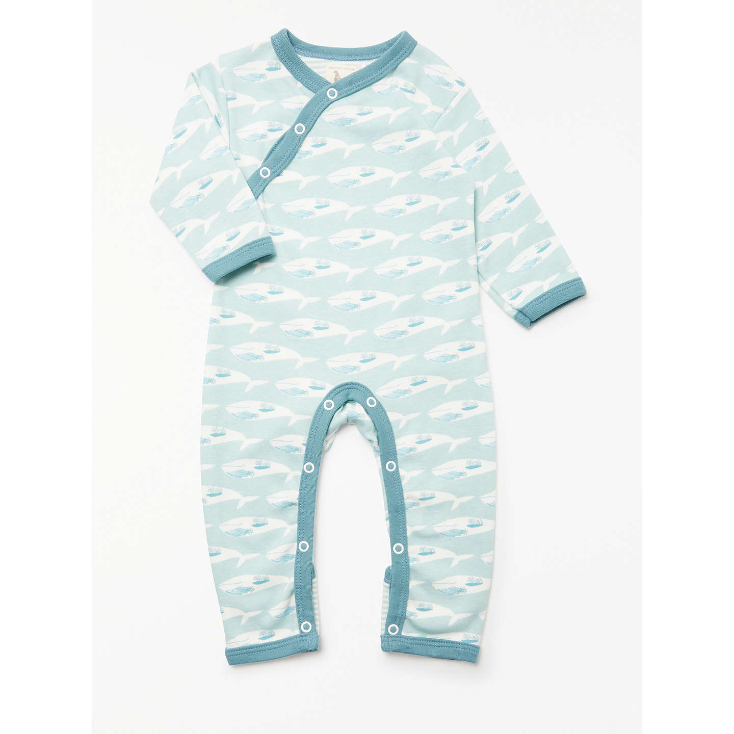 Pigeon Organics Baby Whale Long Sleeve Romper Blue At John Lewis