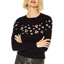 Buy Oasis Buttercup Print Jumper, Black Online at johnlewis.com