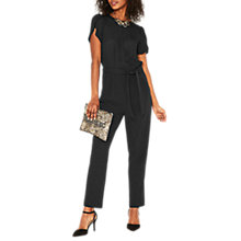 Buy Oasis Tie Belt Jumpsuit, Black Online at johnlewis.com