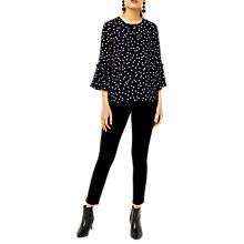Buy Warehouse Pattern Spot Print Top, Black Online at johnlewis.com