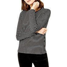 Buy Warehouse Popper Side Top, Black Stripe Online at johnlewis.com