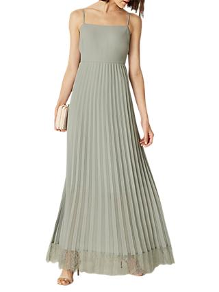 Phase Eight Sabrina Lace Pleated Maxi Dress, Duck Egg
