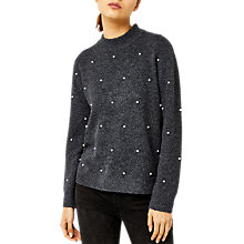 Buy Warehouse Pearl Detail Jumper, Dark Grey Online at johnlewis.com