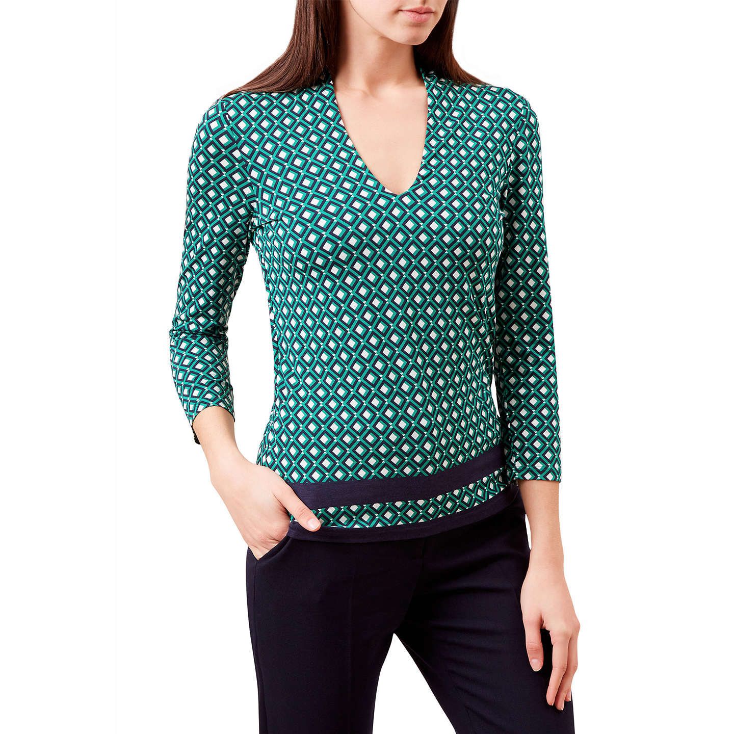 Hobbs Aimee Printed Top, Green/Multi | XS at John Lewis