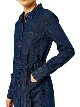 Warehouse Dark Wash Belted Denim Shirt Dress, Blue at John Lewis ...